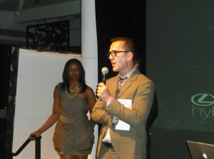 Andrea Lim, Event Manager of Lexus (left) and Steven Kolb Executive Director of the CFDA (right)