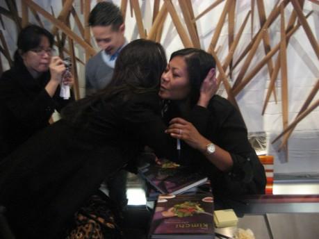 Marja Vongerichten, Author of The Kimchi Chronicles, hugs a devoted fan