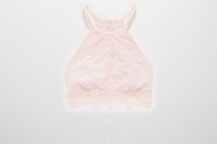 Aerie Lace Hi-Neck Bralette - Ballet Pink