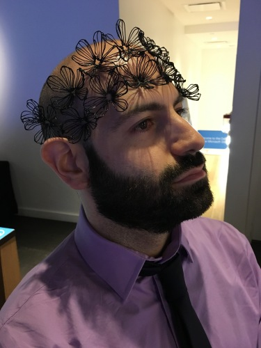My boyfriend Steve wearing one of Eden's flower headbands - perfect for festival season